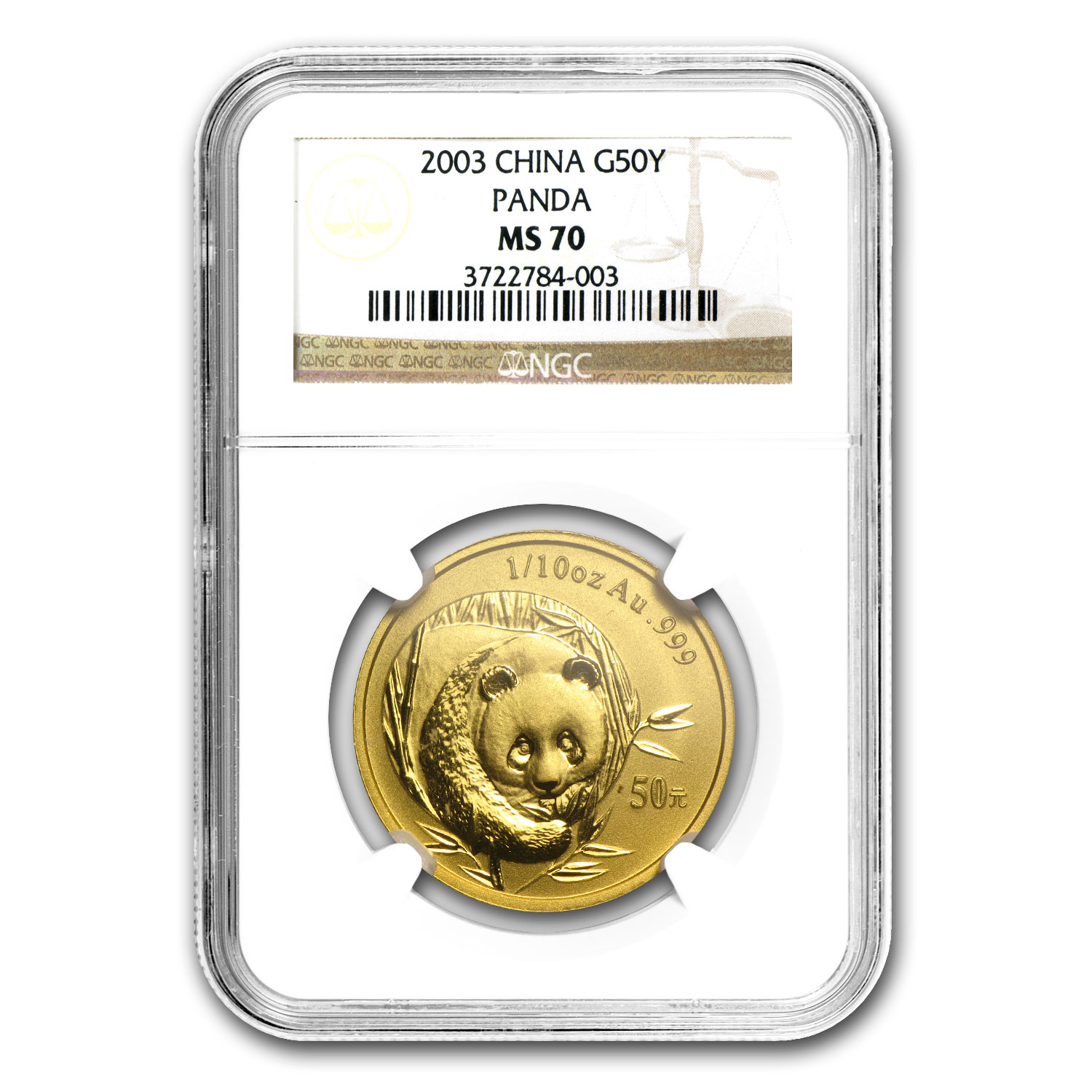 2003 China 1/10 oz Gold Panda MS-70 NGC